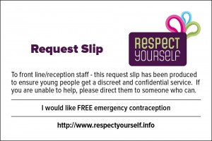 Request Slip - I would like FREE emergency contraception